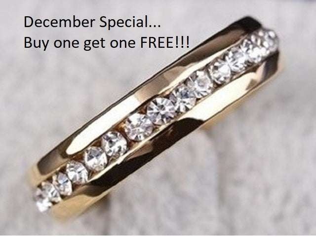 December Special... Buy one get one FREE !!!! Stainless steel AAA crystal ring size 4-13