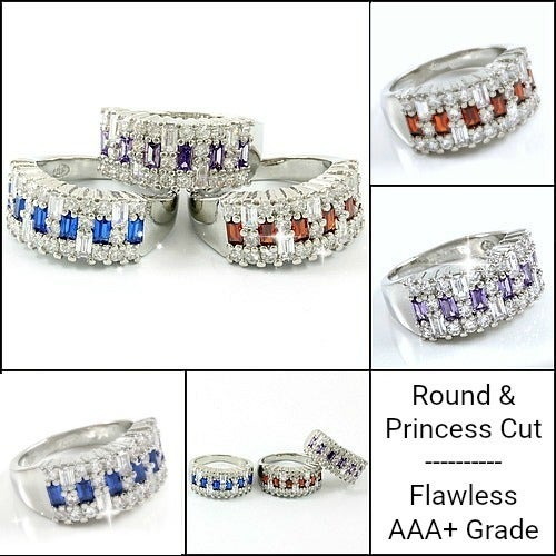 1.90ctw Princess & Round Cut Flawless AAA+ Ring/Band