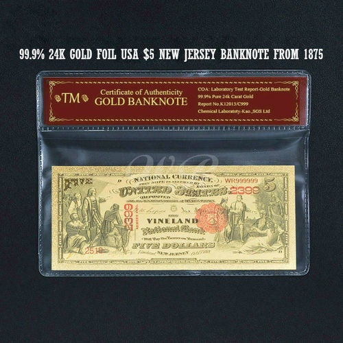 Limited 99.9% 24k Gold Foil Polymer Collectors 1875 US $5 with Certificate of Authenticity