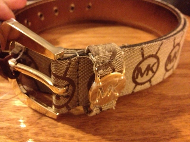 58ef1579774 ... shopping michael kors mk logo brown belt jacquard gold buckle l adacb  1f0fa