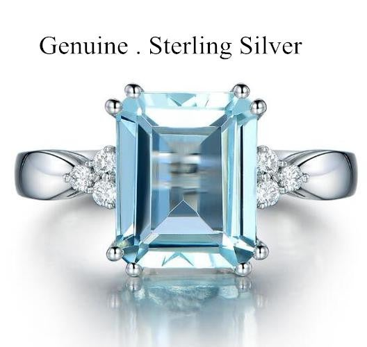 100% High Quality Womens 6 Carat Natural Sea Blue Topza Ring in Sterling Silver Engagement Ring