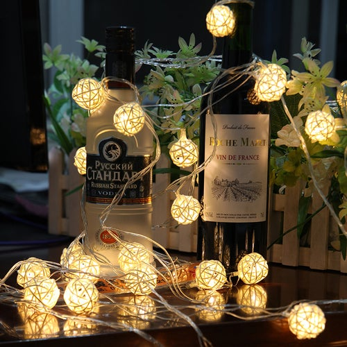 10 Bulbs LED String Lamps Sepak Takraw Balls Lights Christmas Outdoor Wedding Home Decoration
