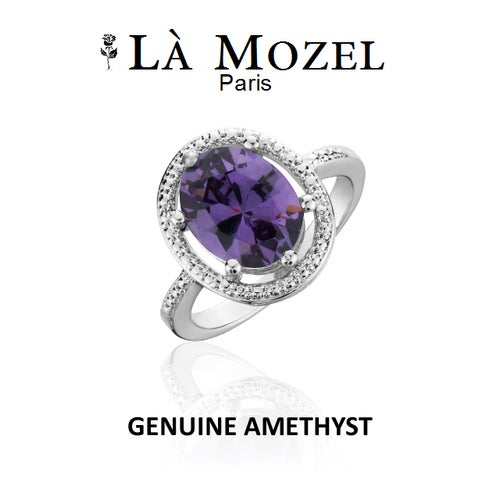 Genuine Amethyst With CZ Accents Oval Ring In 18K White Gold Over Brass