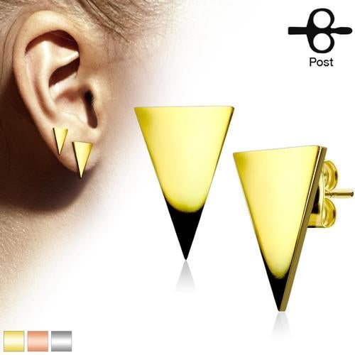 Pair of Plain Hand Polished Triangle 316L Stainless Steel Earring Studs
