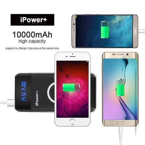 Wireless Power Bank Portable 10000mAh Qi Wireless Charger iPower 3 in 1 External Battery Pack for Qi Enabled Smartphones(iPhone 8, 8 Plus, iPhone X , Samsung Galaxy Note 8, GS8, S7/S6/S8/Edge)
