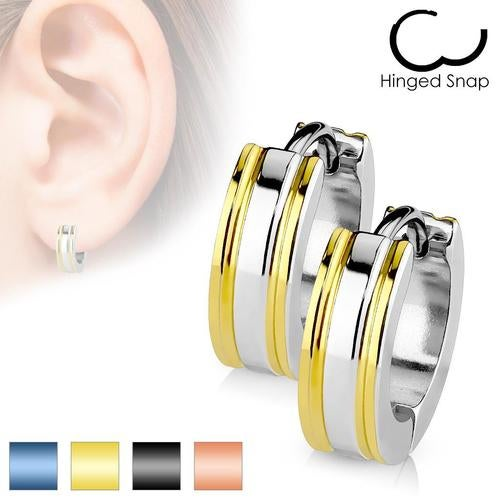 Pair of 316L Surgical Stainless Steel 2 Tone Hoop Earring with IP Edges