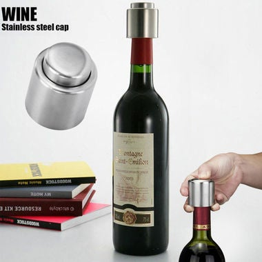 New Arrival 1PC Silver Elegant Stainless Steel Vacuum Wine Stopper Saver Preserv