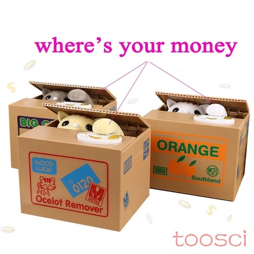 TOOSCI  Hot Sale Automated Cat Steal Coin Bank Moneybox Money Saving Box Gifts