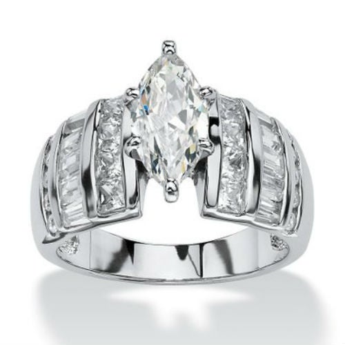 WGP Classic Cathedral Raised CZ Marquise Wedding/Engagement Ring