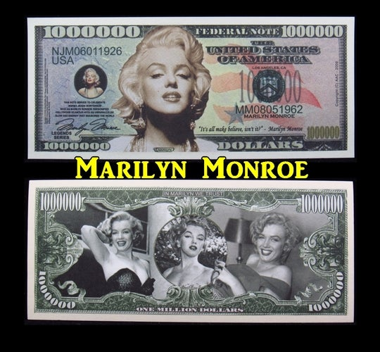 Marilyn Monroe $1 Million Dollar Collectible  Note -  Great gift idea!!!!