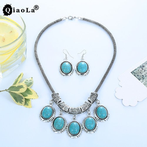 Sterling Silver Turquoise Necklace & Earring Fine Jewelry Set