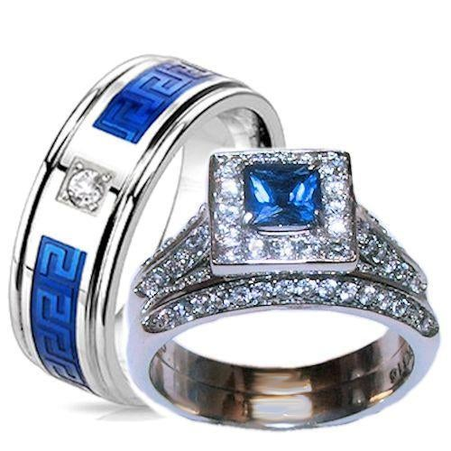 his and her camo wedding rings his hers 3 halo blue amp clear cz wedding ring s 4805