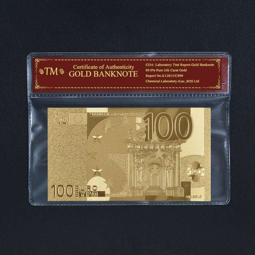 99.9% 24k Gold Foil Polymer Collectors 100 Euro with Certificate of Authenticity