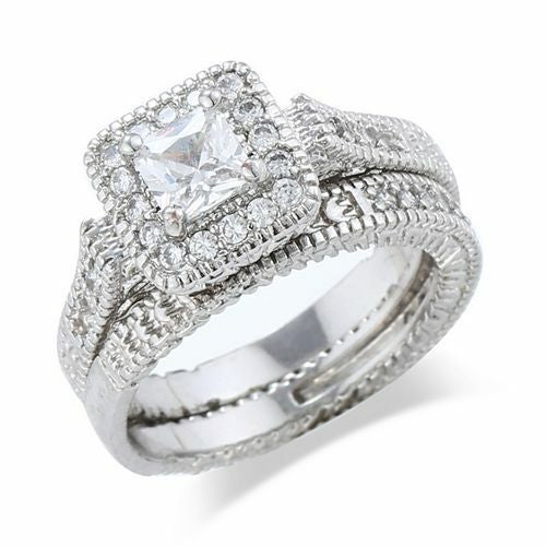 Jewelry B28 Womens White Gold Filled CZ Ring Set