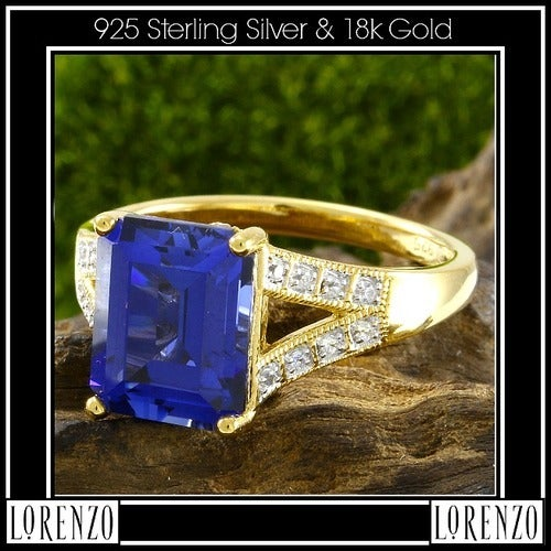 .925 Sterling Silver& 18k Yellow Gold, Blue & White Sapphire Ring Size:7 Designed by High-End Designer ColoreSG Lorenzo LGlam7062q Glamouresq.com