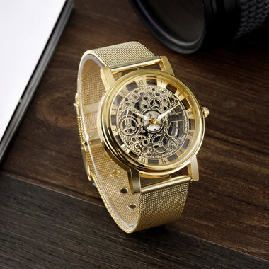 Stylish Design Mechanical Gear Golden Dial And Alloy Stainless Steel Strap Wrist
