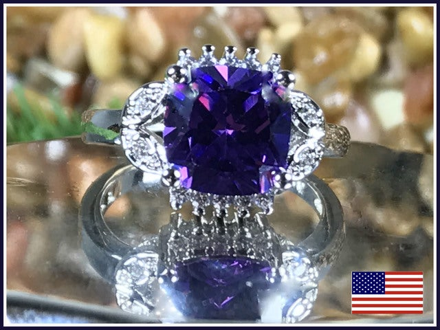 Beautiful Amethyst on Silver Band. Size 7, 8 or 9.
