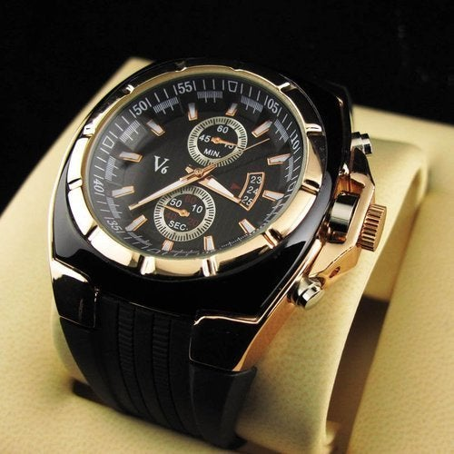 V6 quartz Sport Waterproof watch with Black Silicone band