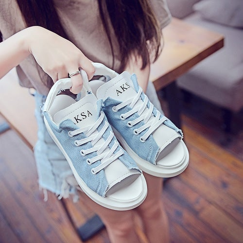 Summer Sandals Female New Robe Canvas With Students Flat White Fish Mouth Thick Bottom Slope With Female Sandals