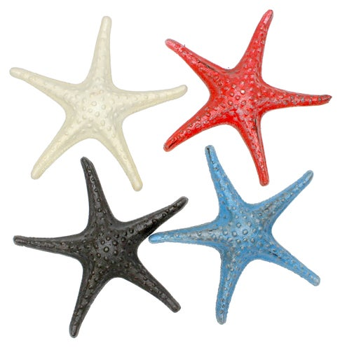 Starfish Red White Blue Black Tabletop Figurines Set of 4 Painted Cast Iron