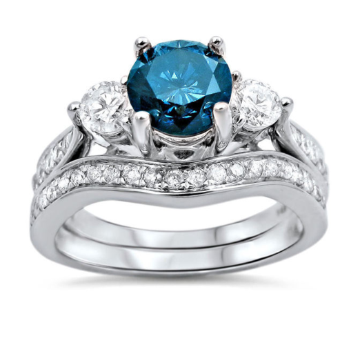 2pc Blue CZ Ring Set #861N