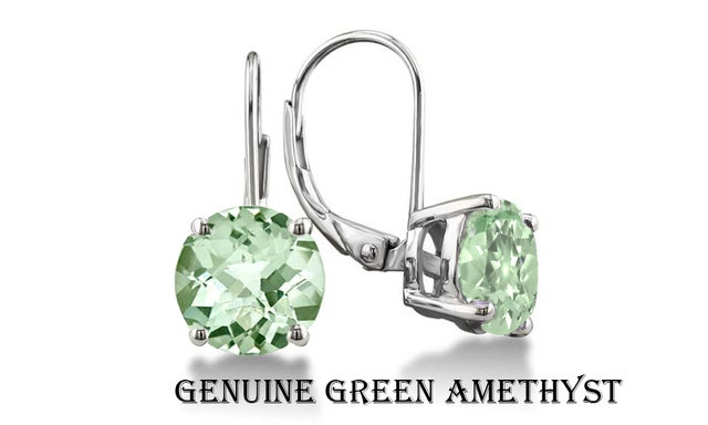 Stunning 2.00 CTTW 18K White Gold Plated W/Genuine Green Ametyst Leverback Earings