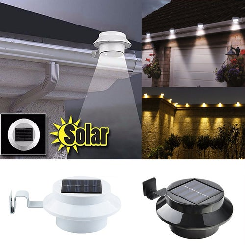 3-LED Solar Powered Energy Saving Outdoor Light Solar Lamp for Garden Landscape Yard Fence Gutter Roof Wall Door Gate Pathway Lobby Driveway Backyard Lighting (Batteries Included)