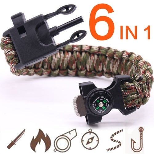6 In 1 Multifunction Outdoor Survival Bracelet Fishing Line Hooks Compass Survival Bracelet Men's Outdoor Tool Camping Equipment Hiking Accessory Parachute Cord Whistle Flint Fire Starter