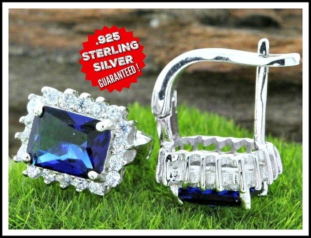 Solid .925 Sterling Silver & Platinum, Blue & White Sapphire Earrings Mglam1064