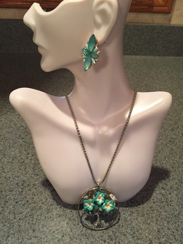 Beautiful detailed homemade green floral tree pendant necklace