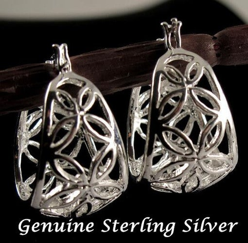 925 Sterling Silver Hollow Floral Earring