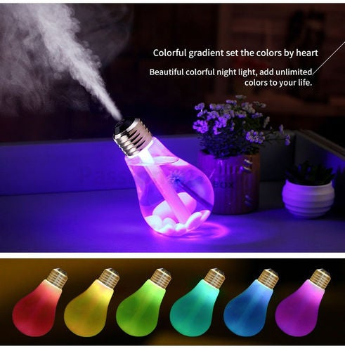 LED Ultrasonic Humidifier Colorful Bulb USB Mini humidificador Air Purifier Atomizer Night Lights for Car Home Table