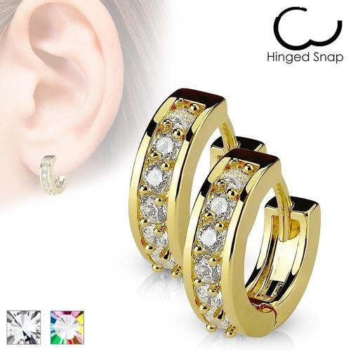 Pair of Paved CZ Gold Plated Over 316L Surgical Steel Post Earrings